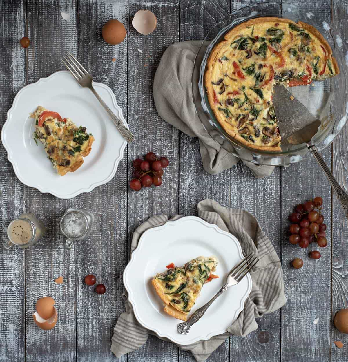 Overhead table picture of easy veggie quiche breakfast