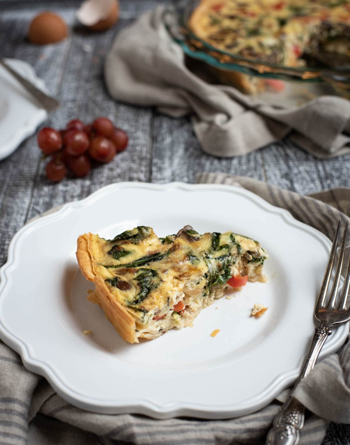 Plate with slice of easy veggie quiche