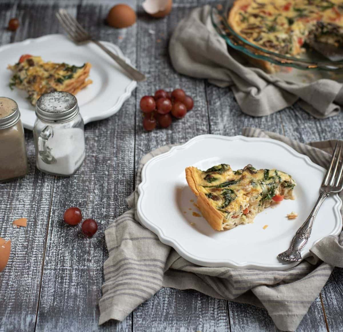 Plate with quiche slice and fork