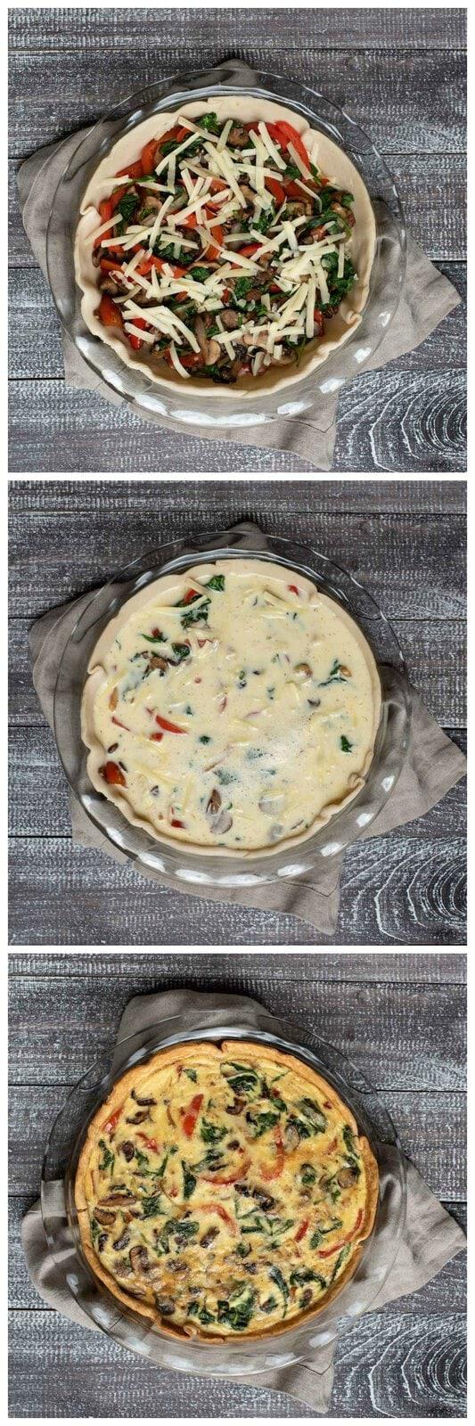 Series of three process pictures of easy veggie quiche recipe
