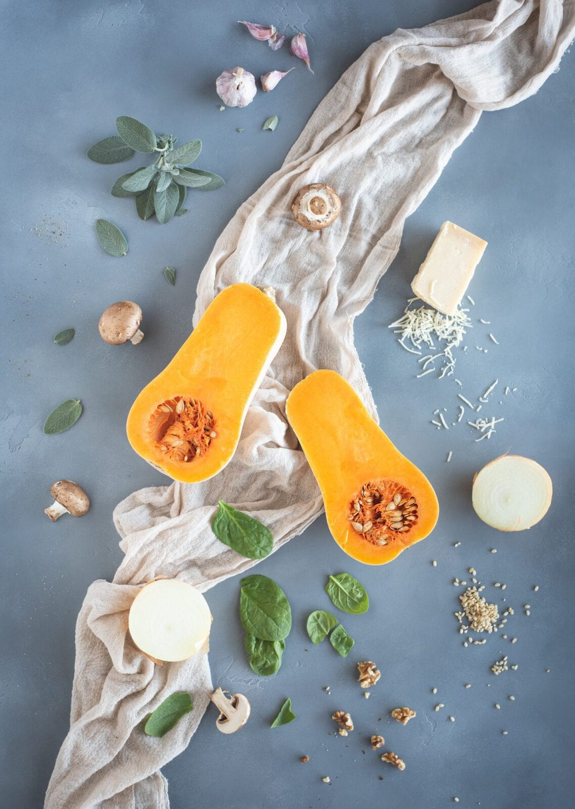 ingredients for Brown Rice Risotto with Butternut Squash & Mushrooms recipe