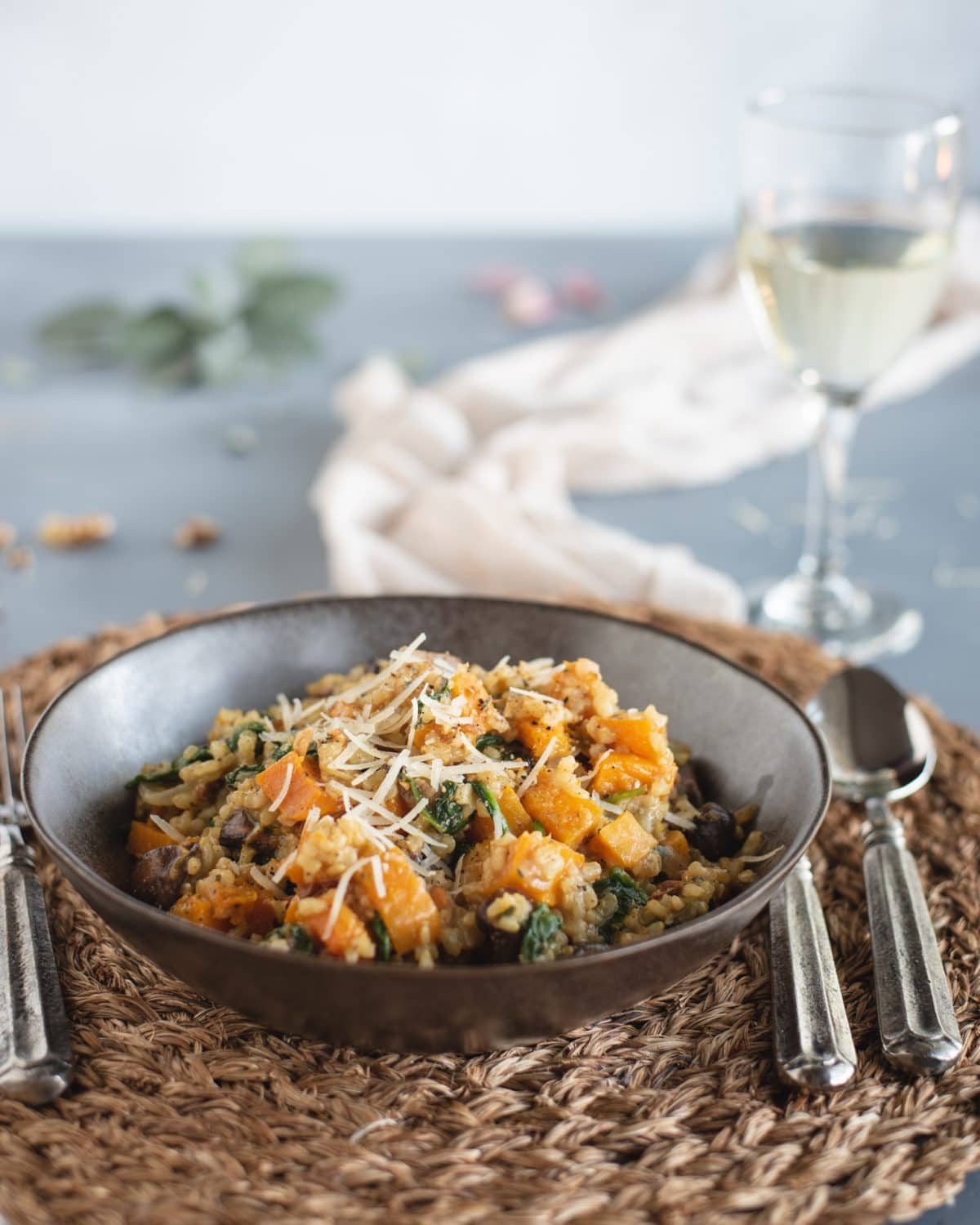 Bowl of Brown Rice Risotto with Butternut Squash & Mushrooms
