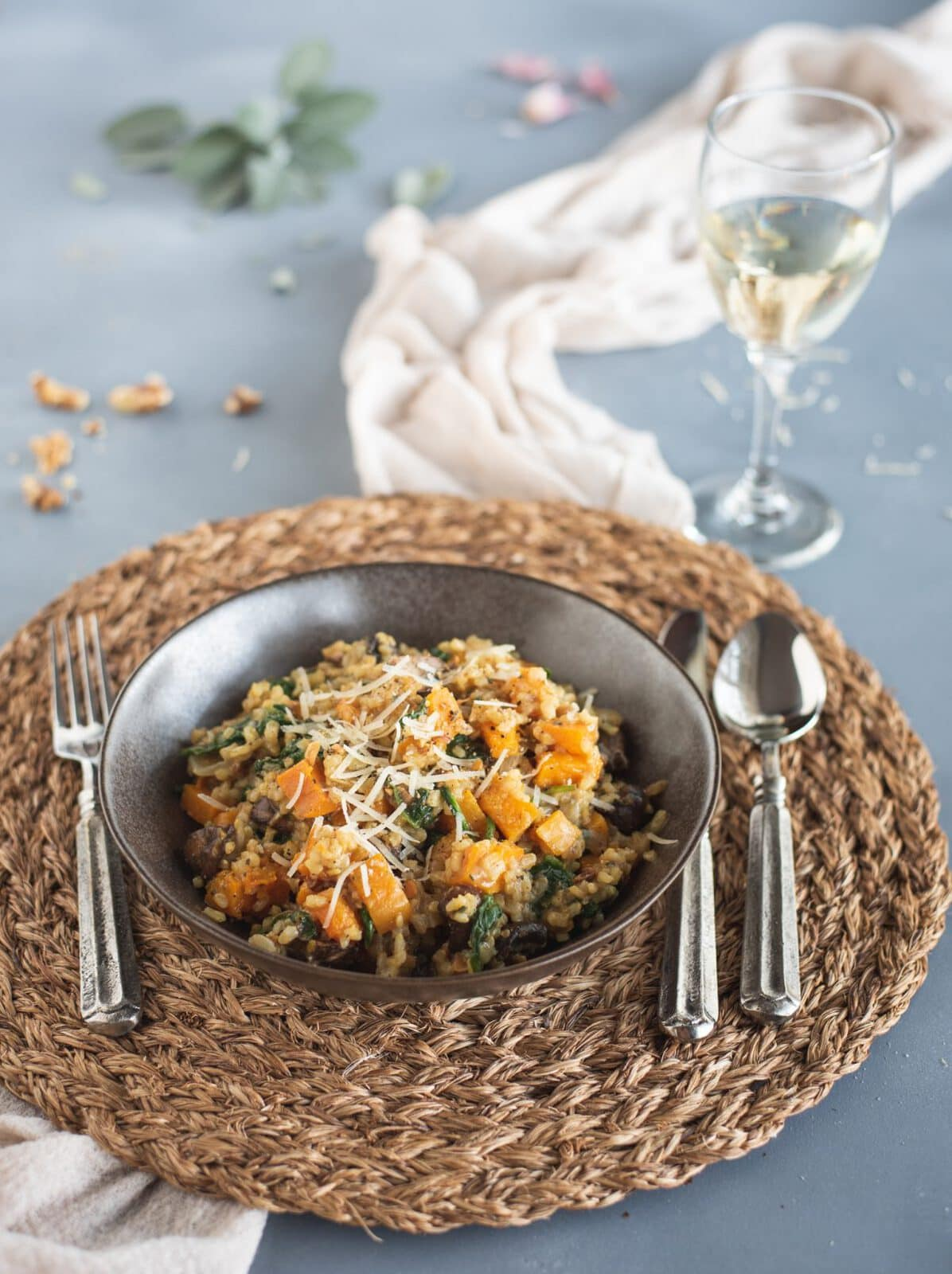 Plate of Brown Rice Risotto with Butternut Squash & Mushrooms with wine