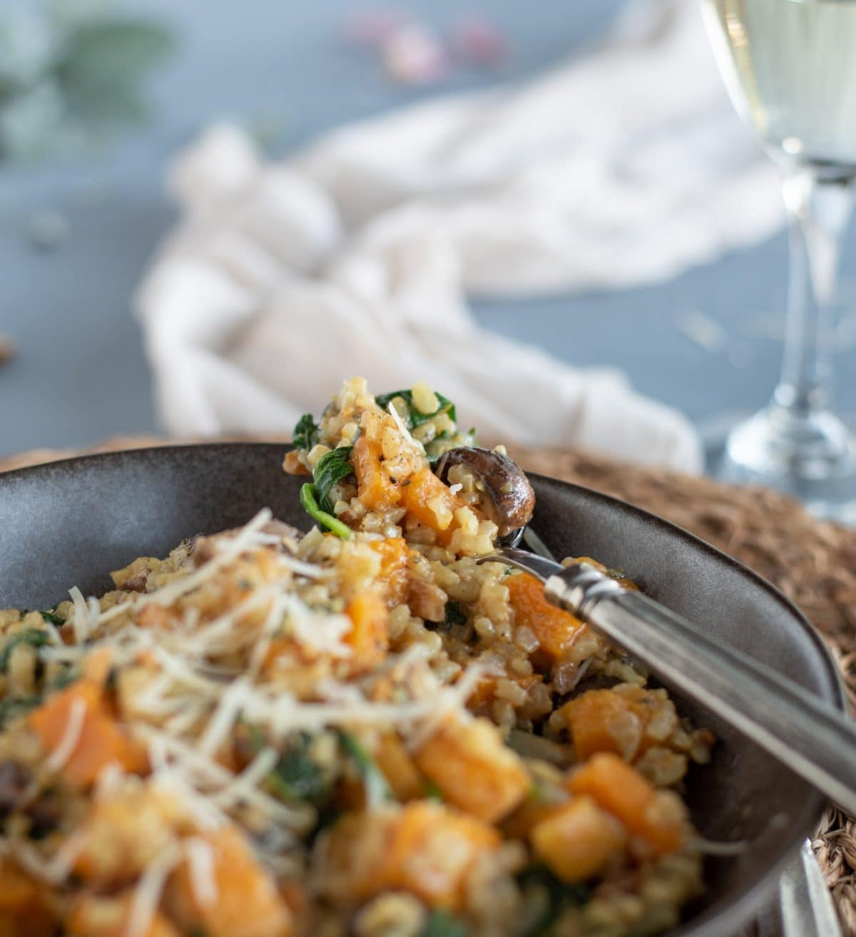 Close up picture of Brown Rice Risotto with Butternut Squash & Mushrooms