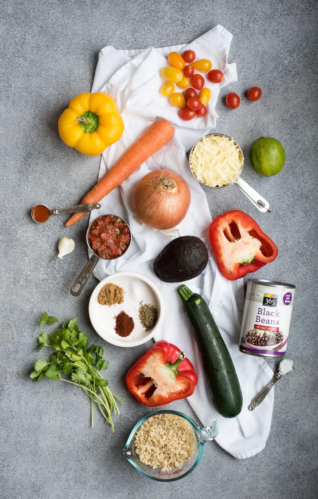 Black bean quinoa casserole raw ingredients