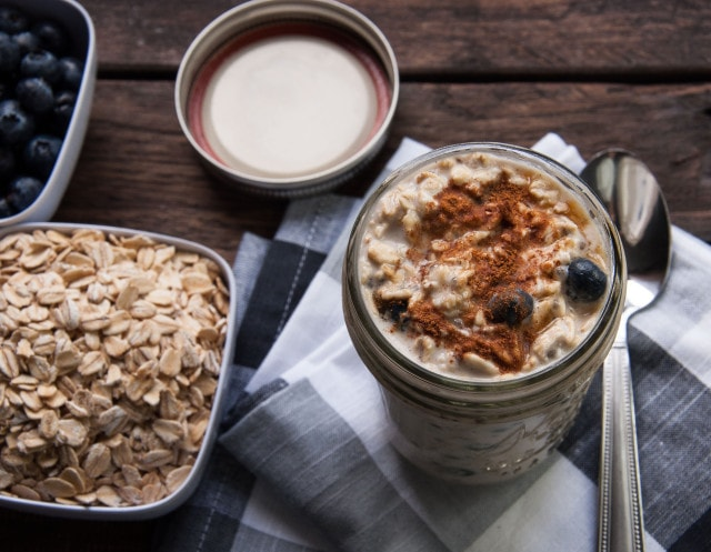 This overnight oats recipe with blueberries and cream is the perfect healthy on the go breakfast that can be prepped the night before for a quick meal. Yum!