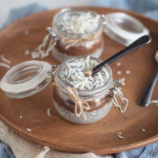 Jar of layered Almond joy chia seed pudding