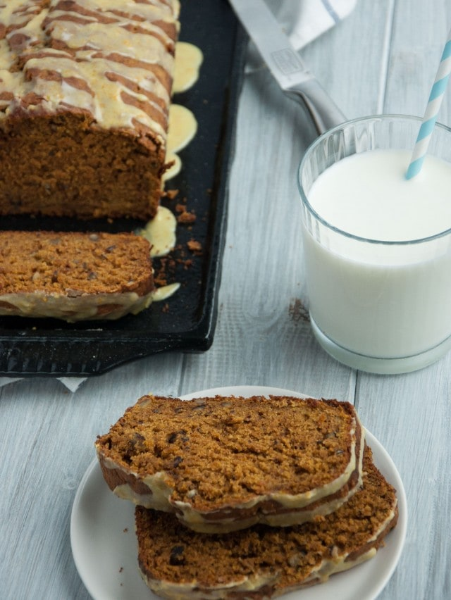 This healthy pumpkin bread is made with 100% whole wheat flour and other wholesome ingredients, leaving room for topping with a zesty orange decadent glaze.