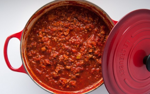 This homemade spaghetti sauce recipe is lightened up with turkey, but is so flavorful you'd never know it!
