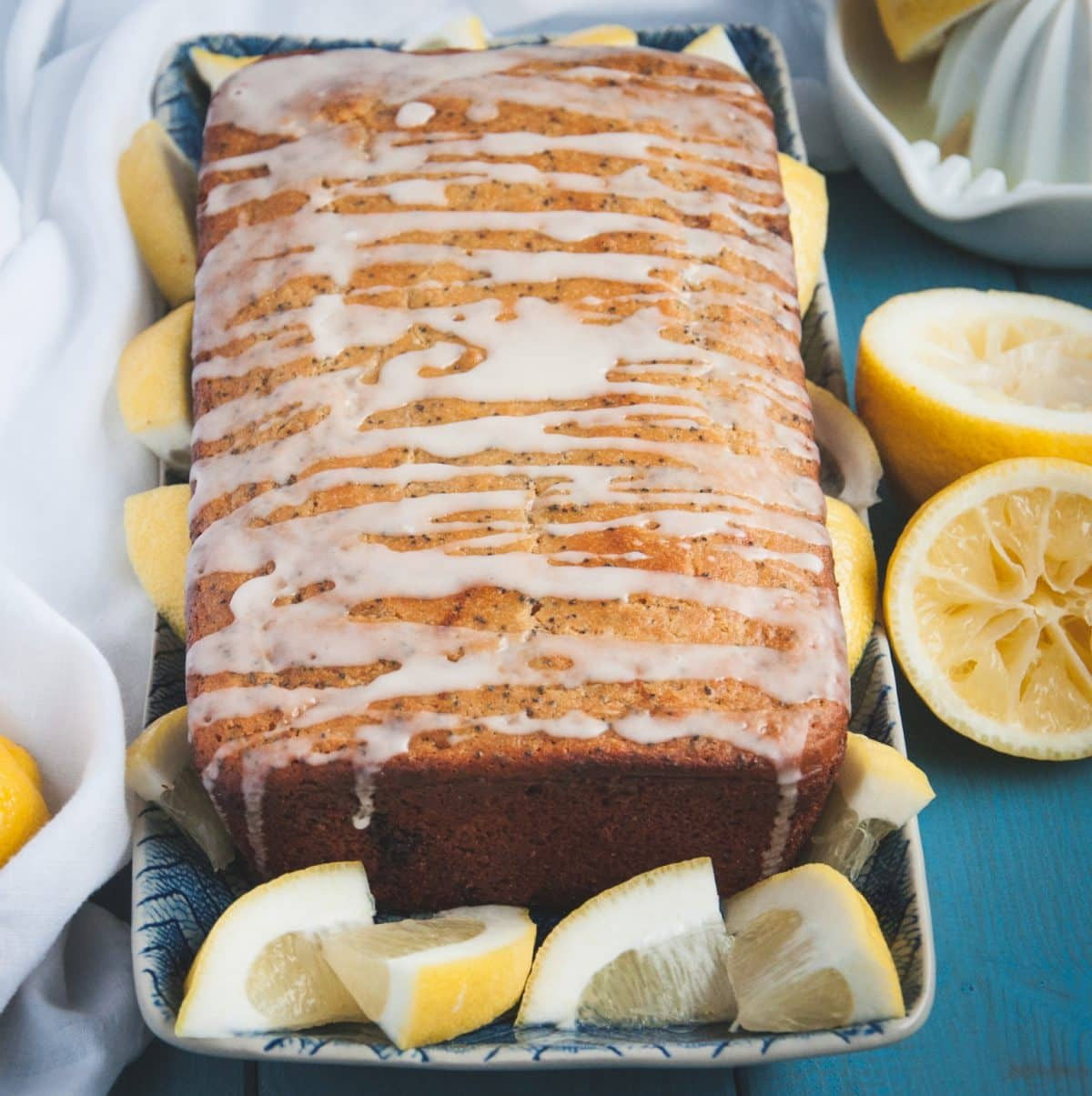 Whole wheat lemon poppy seed bread with glaze