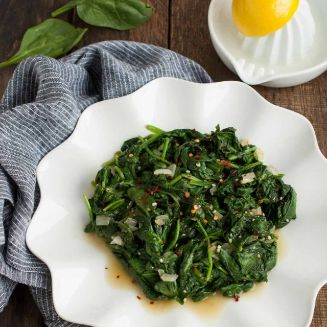 quick and easy sauteed spinach on a plate