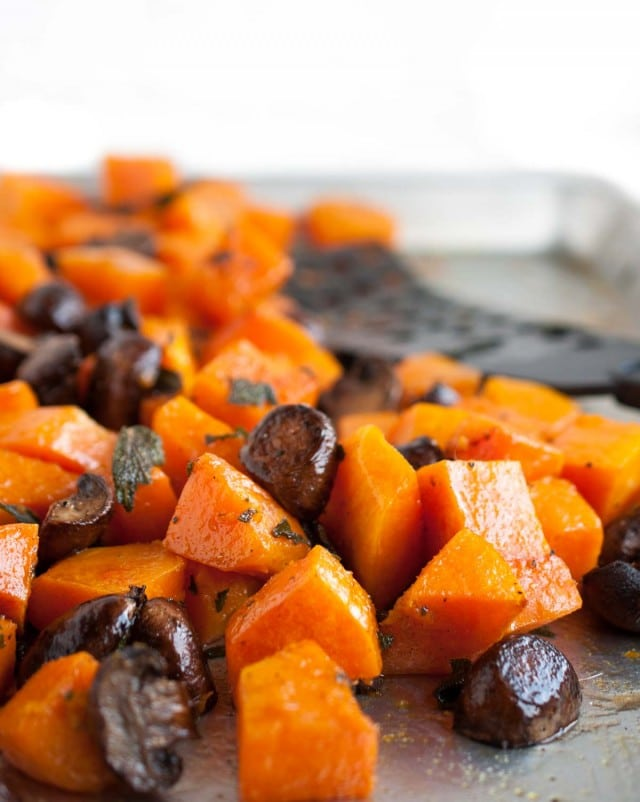 This delicious butternut squash is roasted to perfection and then tossed in a savory brown butter sauce with flavorful, crispy fried sage.