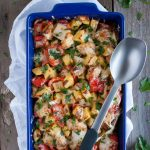 Chicken potato casserole is comfort food at its finest, full of flavor but loaded with chicken and veggies to makes the dish deceptively light and healthy.