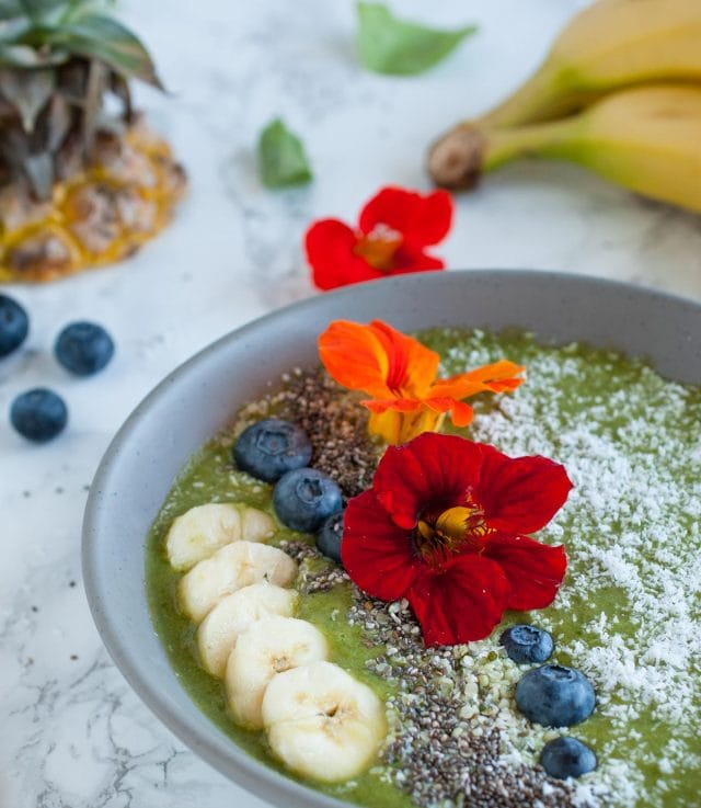 This creamy matcha smoothie bowl is an energizing way to start the day with just enough sweetness to taste fabulous but not enough to make you crash.