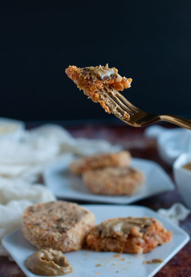 These brown rice sweet potato patties are enhanced by a savory tahini dipping sauce that makes them a tasty and healthy appetizer, light meal, or snack.