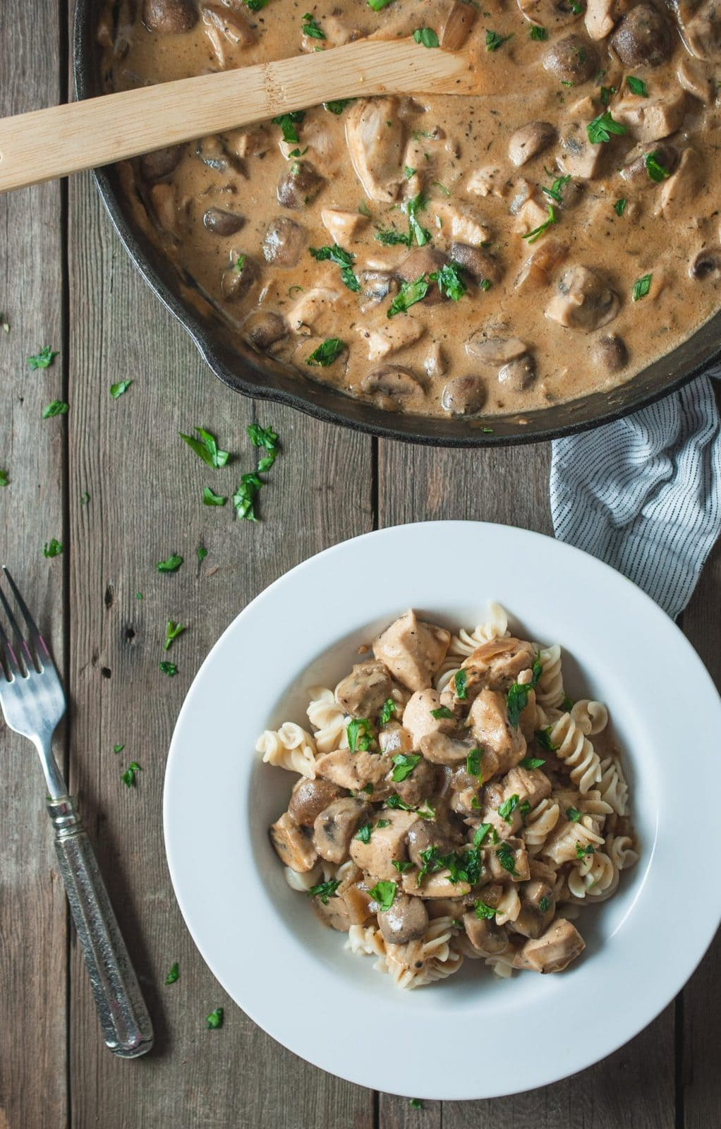 Photo of chicken stroganoff skillet and serving in a bowl