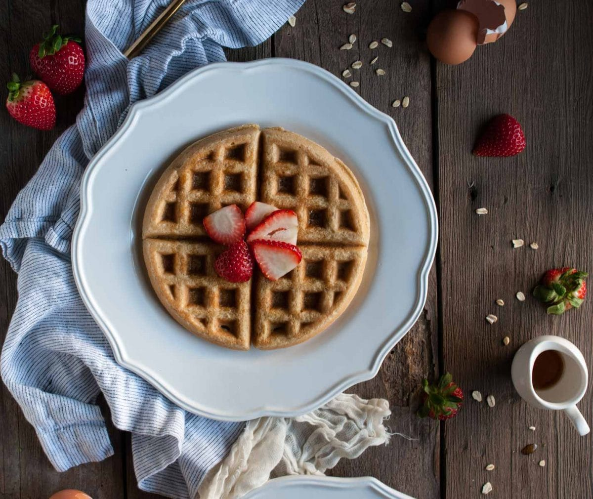 Oat flour waffles are naturally gluten free and have an added protein kick from almond flour and almond milk for energy to fuel your morning.