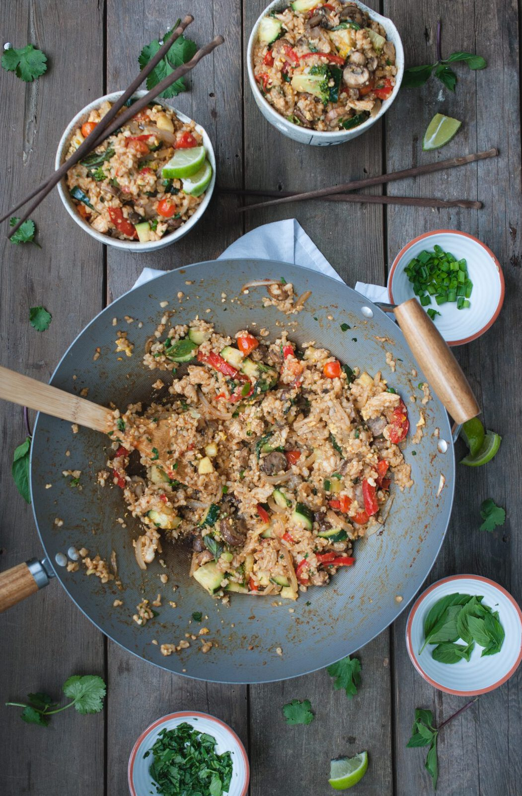 overhead picture of Thai fried brown rice in wok