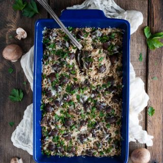 Mushroom brown rice pilaf is the perfect side dish! Its easy, filling, loaded with veggies and flexible enough to go with whatever main dish is on the menu.