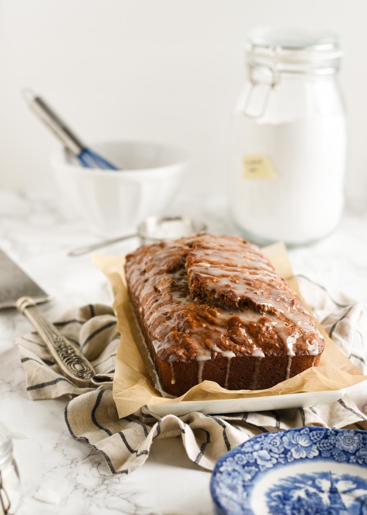 Glazed banana bread