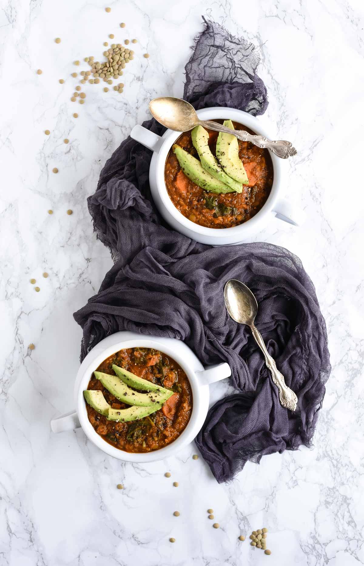 curry lentil soup overhead photo