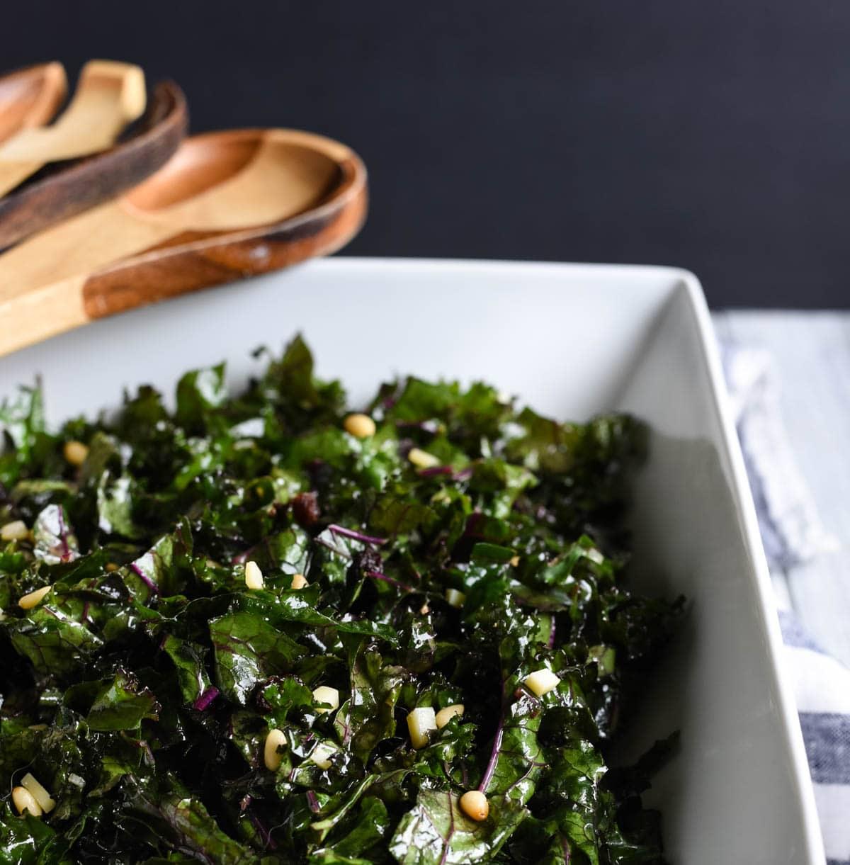 Close up of kale salad in serving bowl