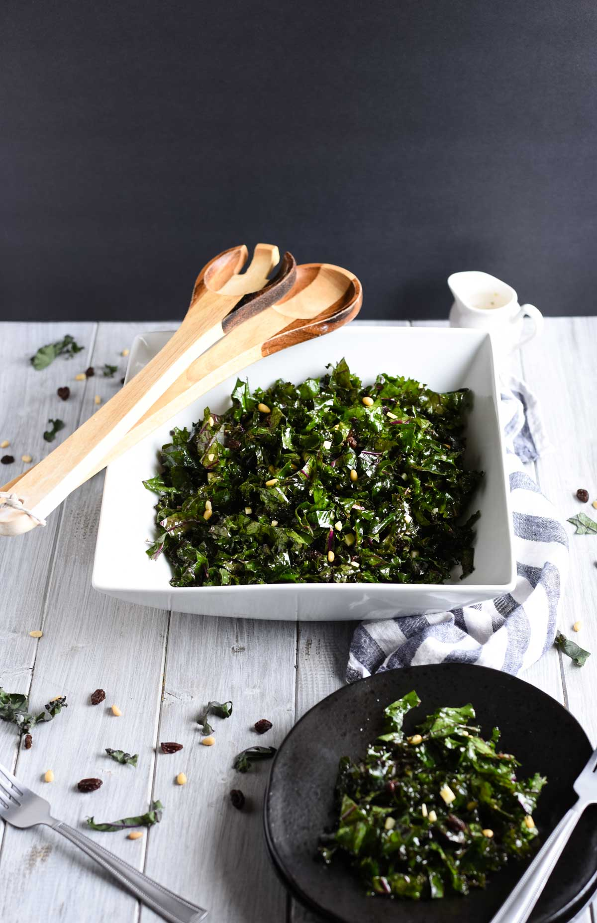 Picture of kale salad with black background