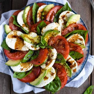 Avocado Caprese salad picture, overhead close up