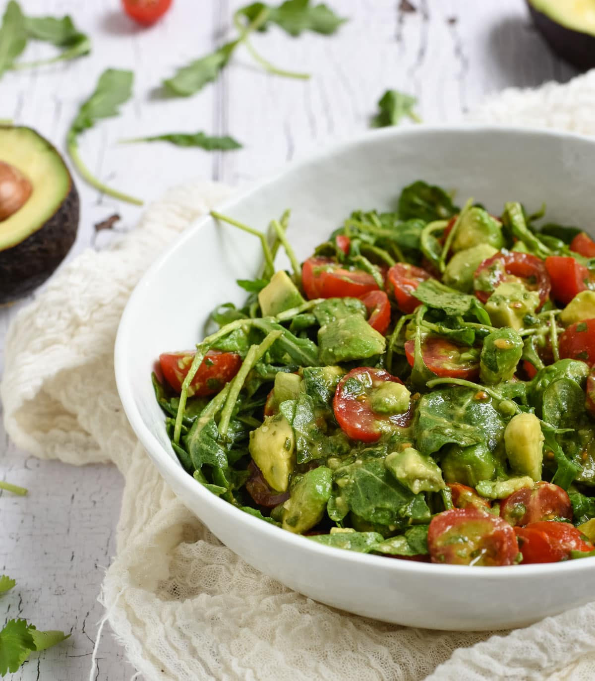 tomato, avocado, arugula salad picture
