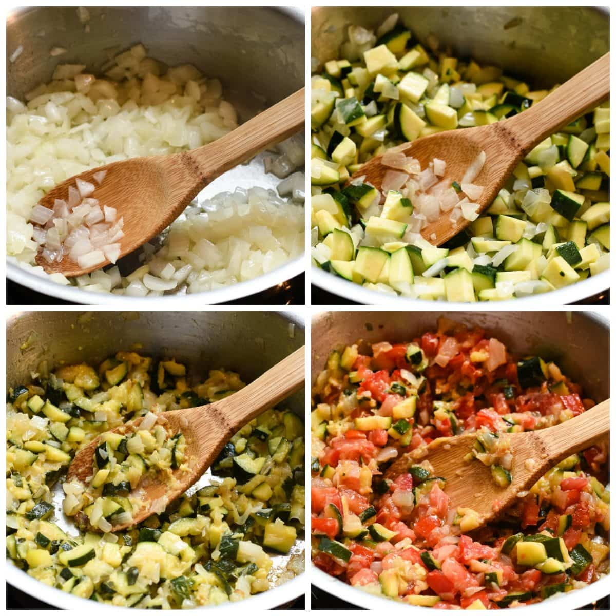 Sauteed vegetables collage in pan