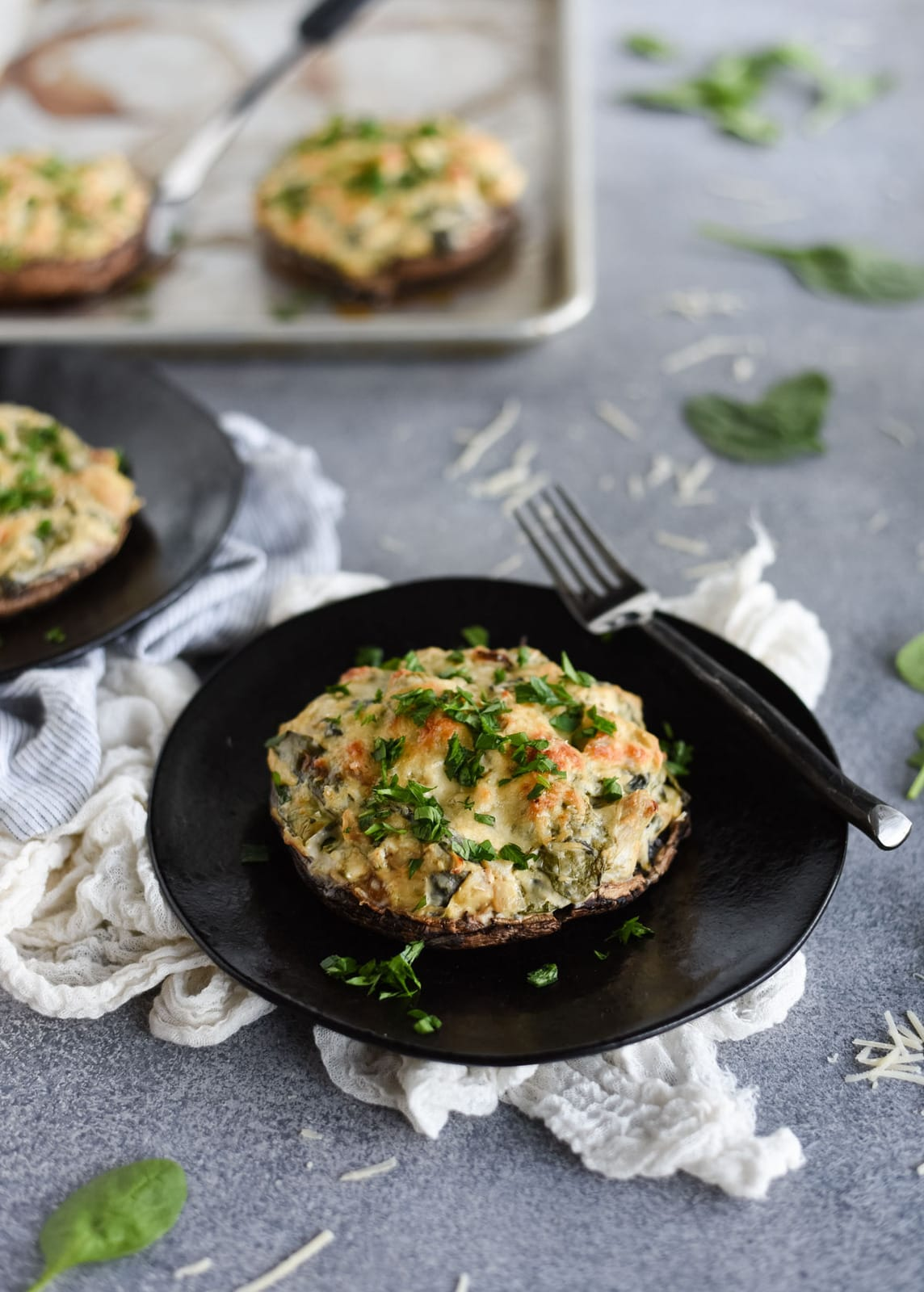 spinach artichoke dip stuffed portobello mushrooms