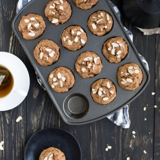 almond muffins with tea kettle from overhead