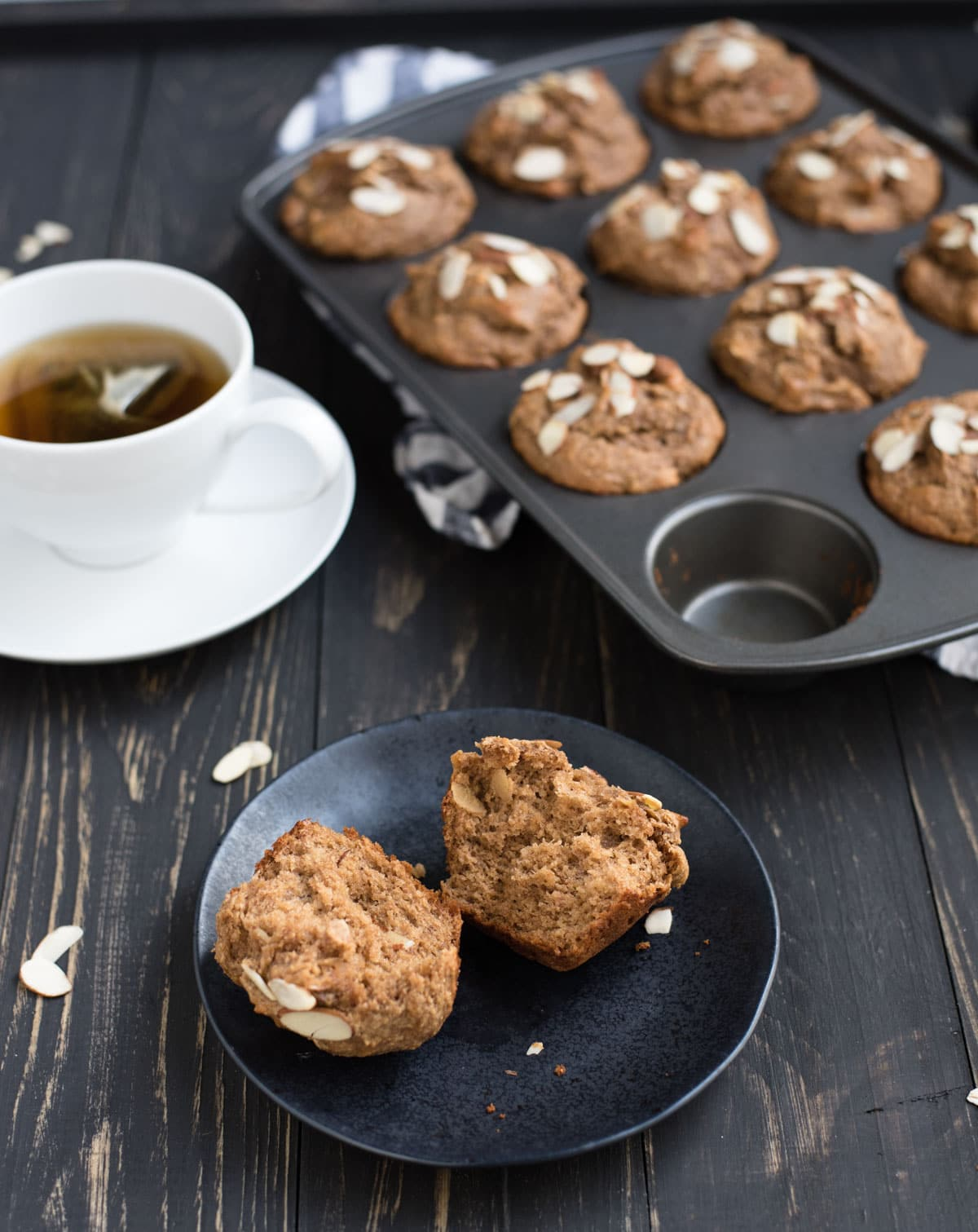 plate with almond butter muffin and cup of tea
