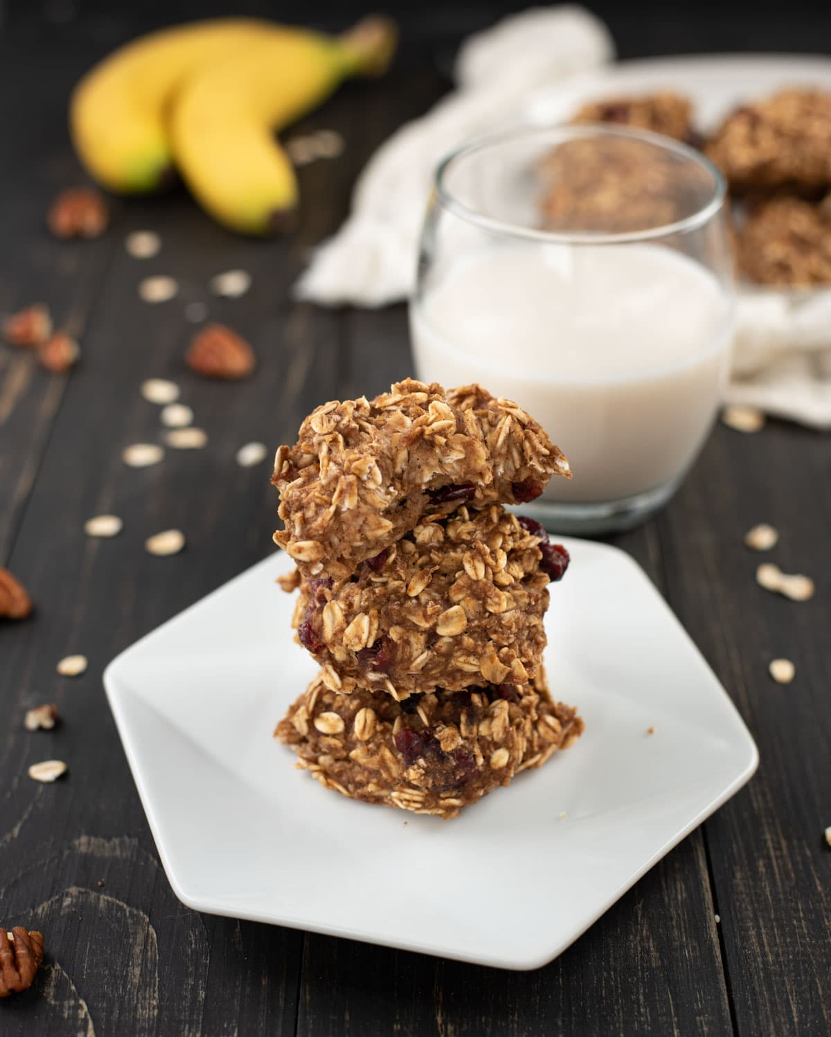 Healthy banana oat cookies in a stack