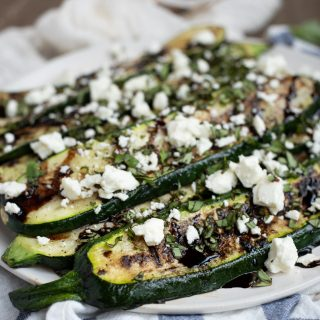 Grilled Zucchini with Balsamic Glaze, Basil, and Feta
