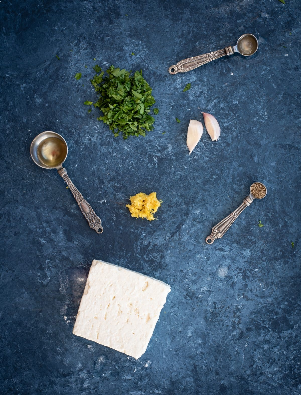 Picture of ingredients for whipped feta with herbs