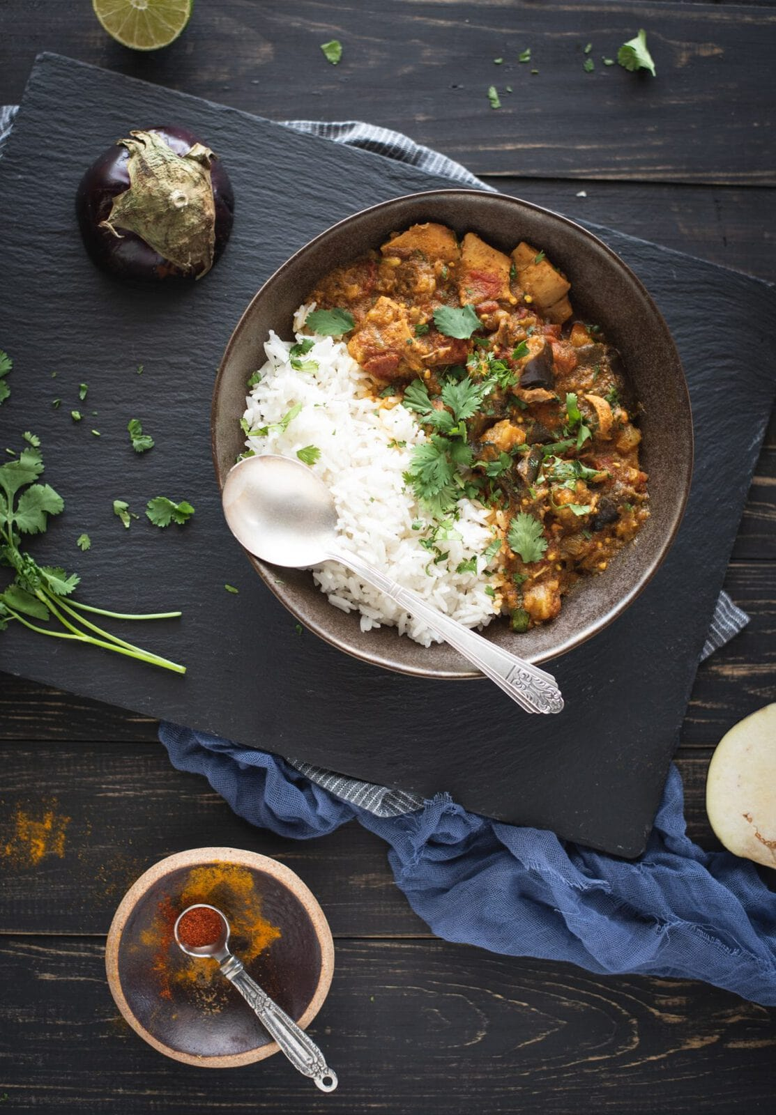 Bowl of Instant Pot chicken curry with eggplant picture