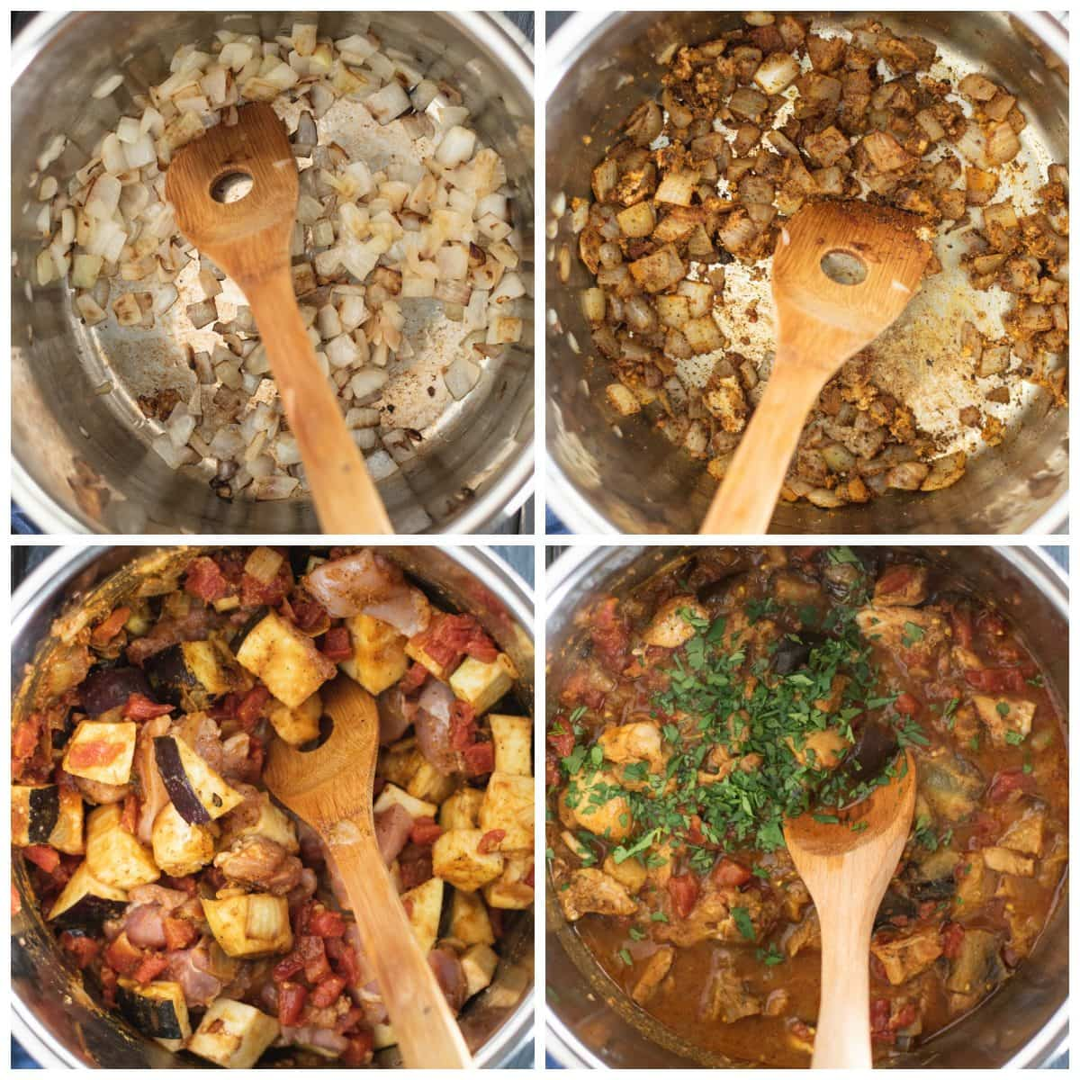 Process steps of for making Instant Pot chicken curry with eggplant recipe