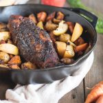 Picture of Pork Tenderloin with Apples and Root Vegetables in a skillet