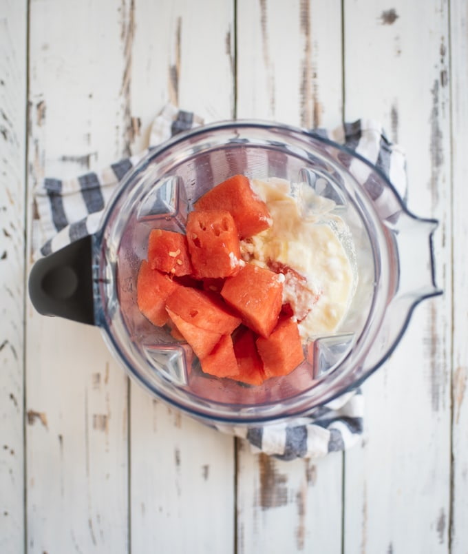 blender with watermelon and yogurt
