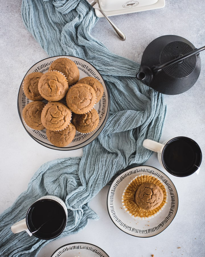 overhead picture of plate of pumpkin muffins with cups and teapot