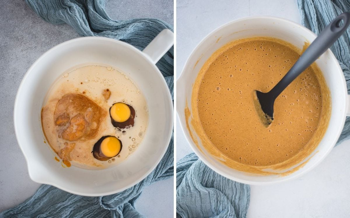 side by side pictures of pumpkin muffin batter before and after mixing