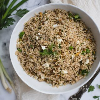 close up overhead photo of lemon brown rice side dish with dill