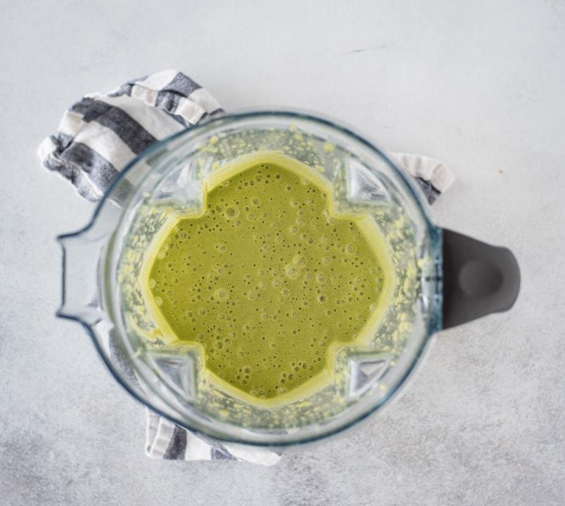 blender with green pancake batter