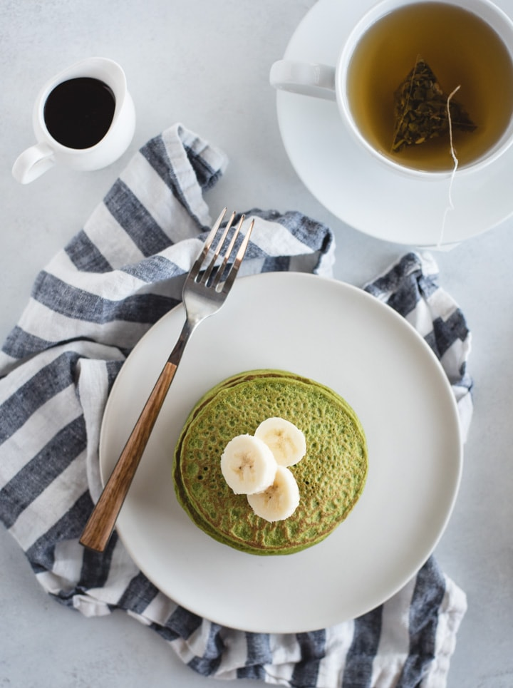 overhead picture of green pancakes