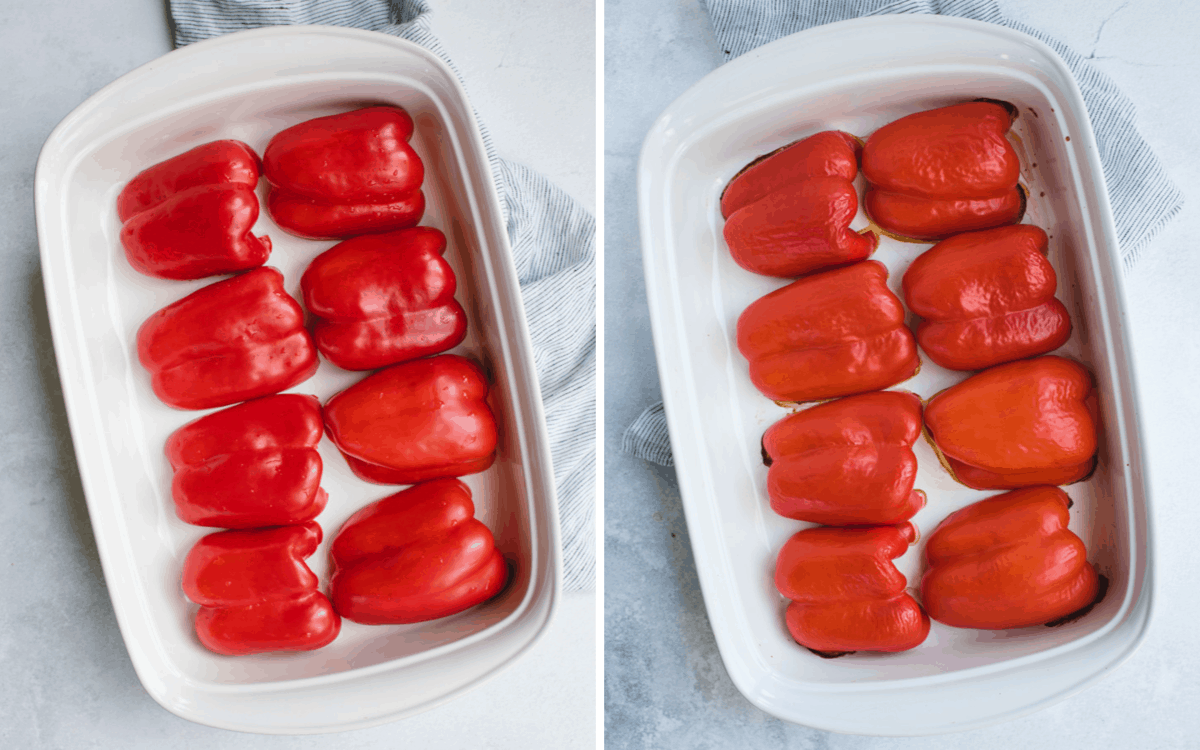 white baking dish with halved red peppers laid out before and after baking