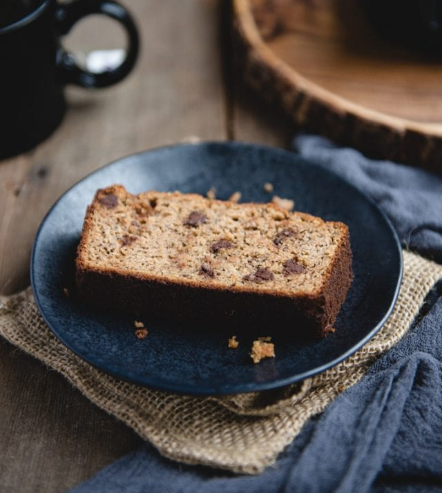 close up pic of banana bread on dark plate