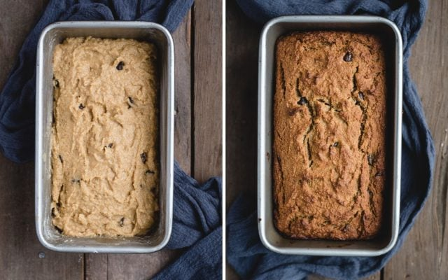 side by side pictures of banana bread before and after baking