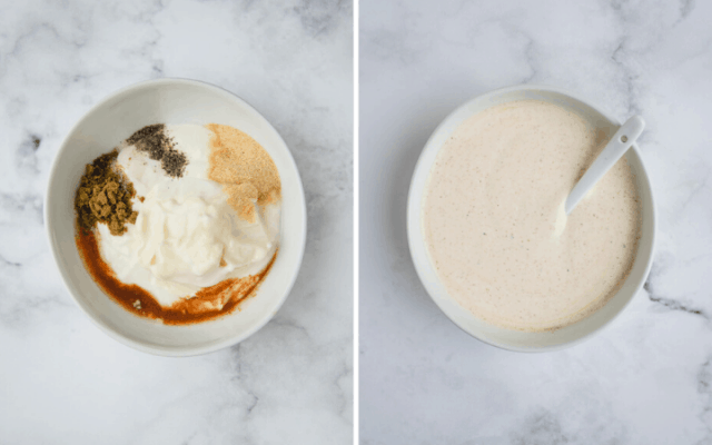 side beside pictures of a white sauce before and after being mixed together