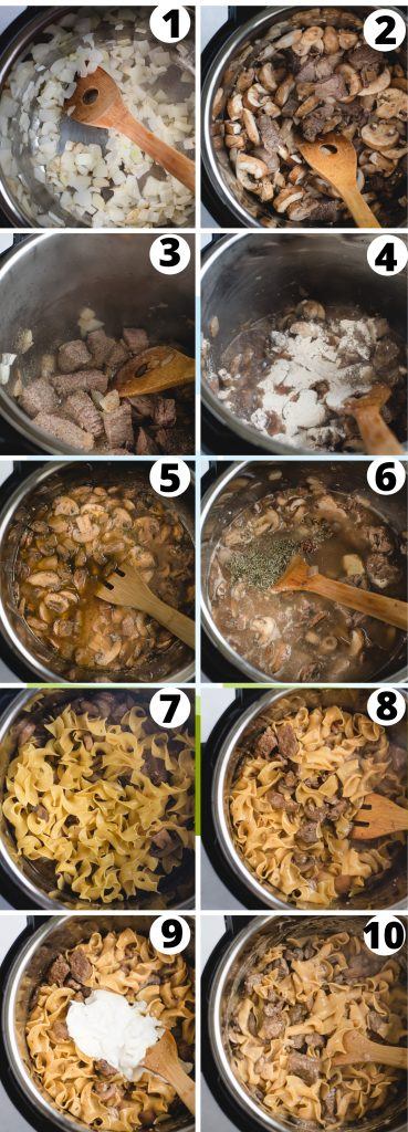 process step images for making instant pot beef stroganoff